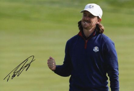 Tommy Fleetwood, Ryder Cup 2018 Paris, signed 12x8 inch photo. (2)